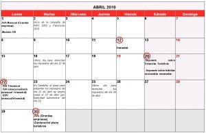 Calendario Fiscale 2019.Calendario Fiscal Abril 2019 Gros Monserrat