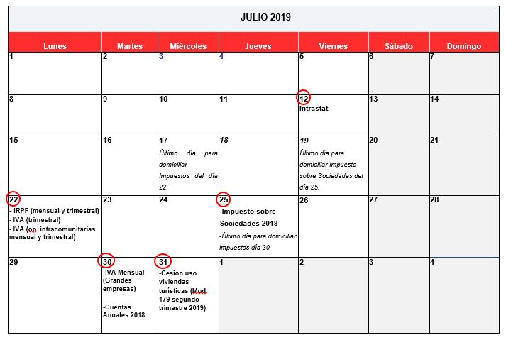 Calendario Julio 2019 Grande.Calendario Fiscal Julio 2019 Gros Monserrat